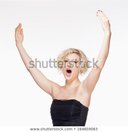 Opera şarkıcı şarkı söyleme sahne elbise yalıtılmış Stok fotoğraf © courtyardpix