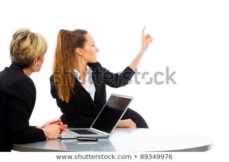 Stockfoto: Twee · vrouwen · zakelijke · bijeenkomst · laptop · witte · studio · business