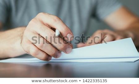 adesivo · contrato · trabalhar · caneta · trabalhando - foto stock © fuzzbones0