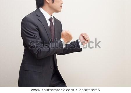 Zakenman klaar strijd werk werknemer macht Stockfoto © alphaspirit