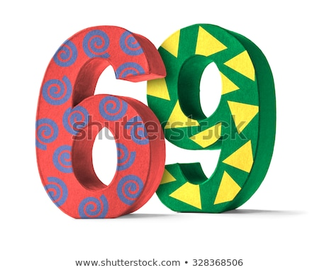Colorful Paper Mache Number on a white background  - Number 69 Stock photo © Zerbor