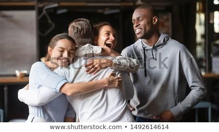 girl embraces fellow on white Stock photo © Paha_L