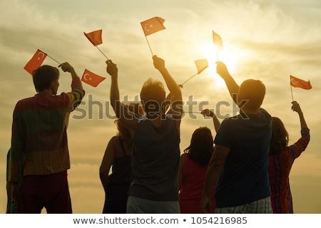 Turco bandeira céu palma blue sky árvore Foto stock © Kotenko