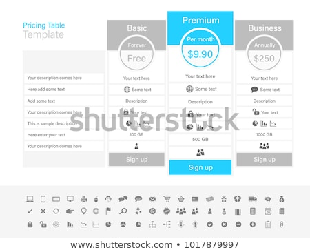 Light pricing list with 3 options and one recommended plan Stock photo © liliwhite