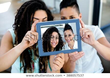 Lesbijek para domu ludzi Zdjęcia stock © dolgachov