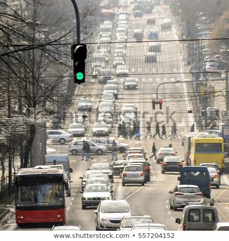 Photo stock: Voiture · route · attente · vert · lumière · haut
