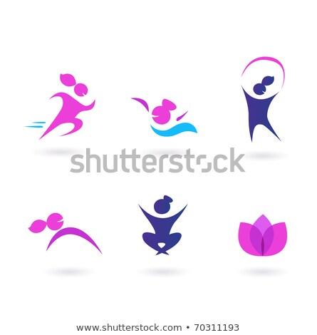 fitness · meisje · vector · ingesteld · moderne · training - stockfoto © lordalea