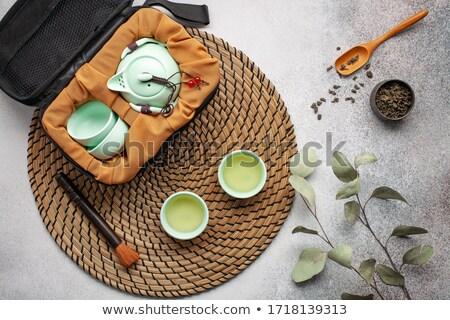 Bambu çay fincanı tepsi çay Stok fotoğraf © Elisanth