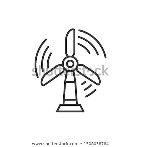 Molino de viento línea icono esquinas web móviles Foto stock © RAStudio