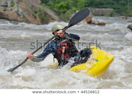 Water kano strijd jonge hoofd- Rood Stockfoto © vilevi