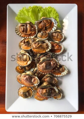 Cockle grill on white plate. Stock photo © art9858