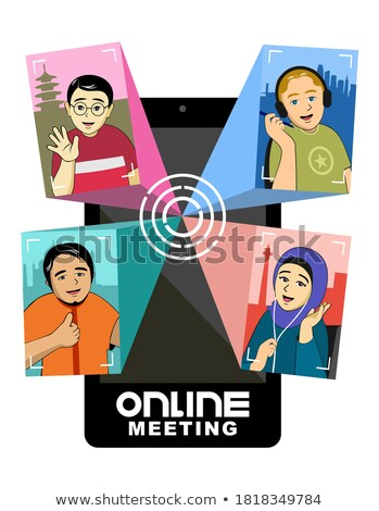 safety online meeting icon flat design stock photo © wad