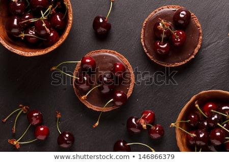csokoládé · hab · puding · finom · eprek · citromsárga · torta - stock fotó © idesign
