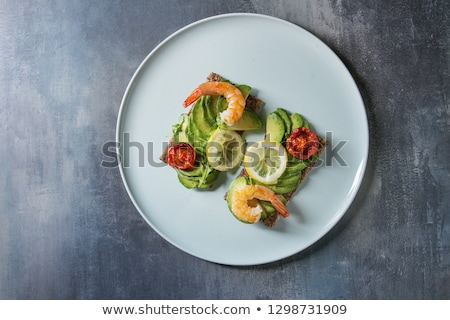 Shrimp Appetizer served on toasted bread Stock photo © Klinker