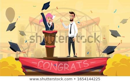 Ukończeniu ceremonia mowy człowiek absolwent podium Zdjęcia stock © vectorikart