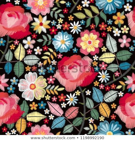 Flamenco végtelen minta virág papír klasszikus női Stock fotó © carodi