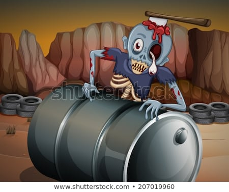 a zombie above the barrel stock photo © bluering