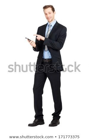 üzletember kezek lábak keresztbe egészalakos kép fiatal Stock fotó © feedough