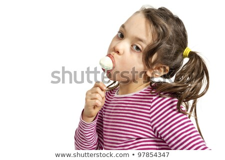 Little girl sucking on a lollipop candy Stock photo © lovleah