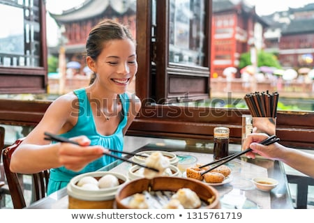 chinois · fille · plateau · thé - photo stock © coolgraphic