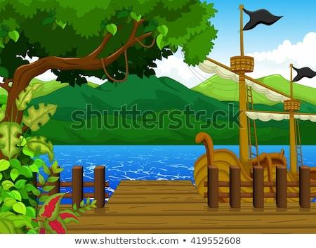 красивой дерево док Cartoon горные пейзаж Сток-фото © jawa123