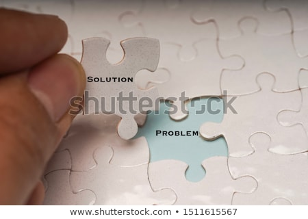 Puzzle szó minőség kirakó darabok kéz építkezés Stock fotó © fuzzbones0