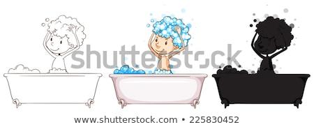 Egyszerű rajz fiú fürdik illusztráció fehér Stock fotó © bluering