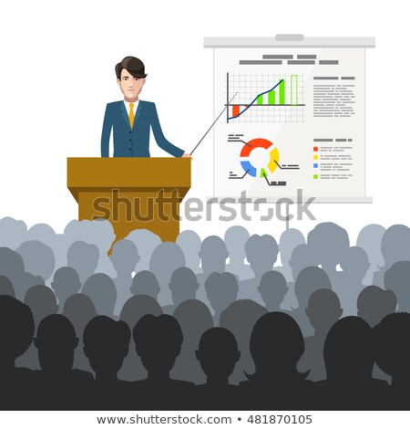 Businessman holds a lecture to an audience with finance charts on placard stock photo © Evgeny89