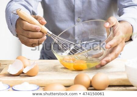 férfi · tojás · kéz · üveg · háttér · konyha - stock fotó © Bigbubblebee99