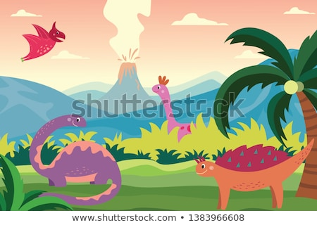 scene with dinosaurs and volcano stock photo © bluering