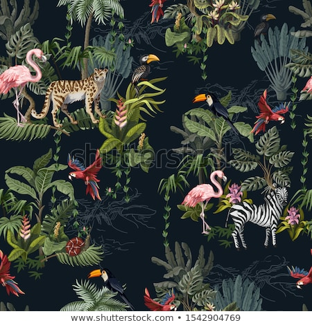 tropical seamless pattern with toucan parrot flowers and palm leaves stock photo © bluelela