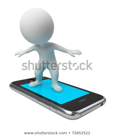 3d small people   flight on phone stock photo © anatolym