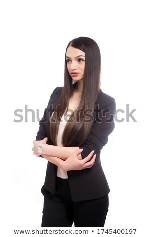 Stockfoto: Vrouw · zwart · pak · permanente · naar · camera · portret