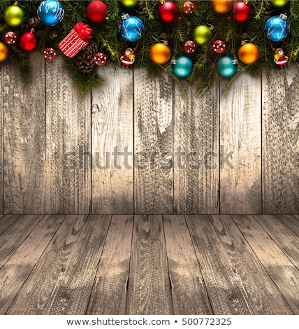 2017 happy new year seasonal background with real wood green pine colorful christmas baubles gift stock photo © davidarts