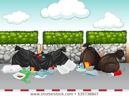 Scena śmieci około drogowego ilustracja krajobraz Zdjęcia stock © bluering