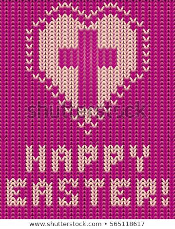 Iyi paskalyalar örgü kart çapraz kalp sevmek Stok fotoğraf © carodi