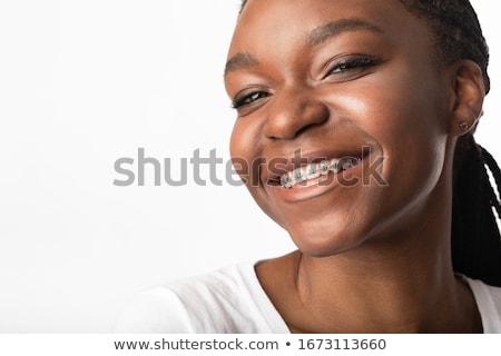 Meisje bretels lippen Open tonen tanden Stockfoto © gregorydean