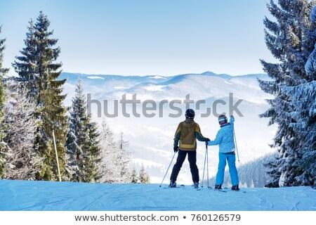 Wintersport mooie jonge vrouw skiër vector cartoon Stockfoto © orensila
