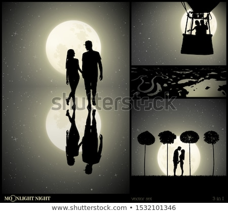 lovers reflected in the moonlight Stock photo © adrenalina