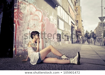 sexy · girl · tattoos · portret · sexy · jonge · vrouw · vrouw - stockfoto © bezikus