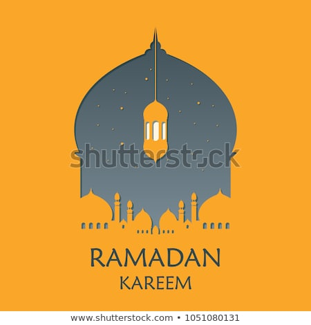 beautiful eid festival background with mosque silhouette Stock photo © SArts