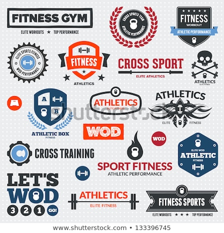 Fitness projeto elementos ginásio emblema vetor Foto stock © Andrei_
