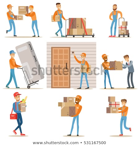 Vector happy cartoon character of home mover worker Stock photo © curiosity