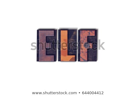 Manó izolált magasnyomás szó írott klasszikus Stock fotó © enterlinedesign
