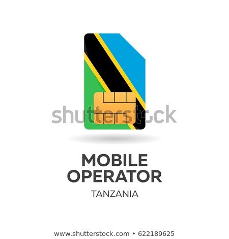 tanzania mobile operator sim card with flag vector illustration stock photo © leo_edition
