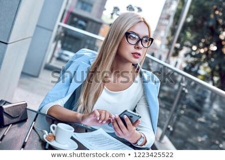 Mulher de negócios telefone isolado branco negócio Foto stock © NikoDzhi