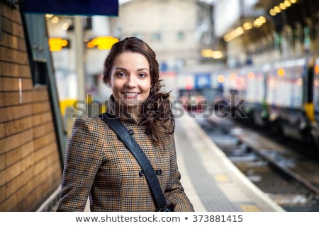 Beautiful young girl posing on metro station Stock photo © tekso