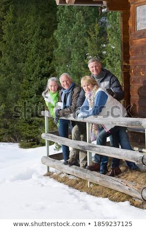 Portré mosolyog idős férfi dől fából készült Stock fotó © wavebreak_media