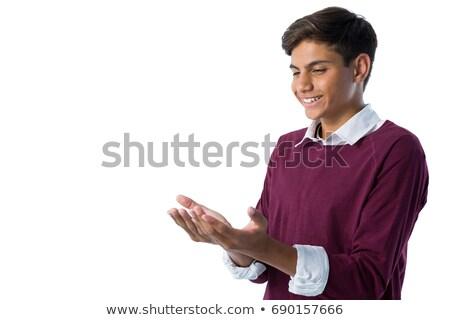 少年 ホールド 目に見えない オブジェクト 白 幸せ ストックフォト © wavebreak_media