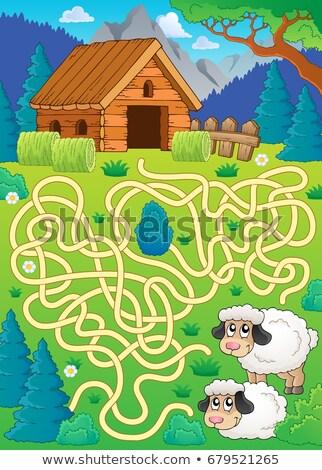 Labirintus 30 birka boldog természet művészet Stock fotó © clairev